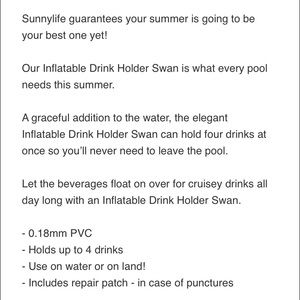 SunnyLife Other - Inflatable Swan Drink Holder