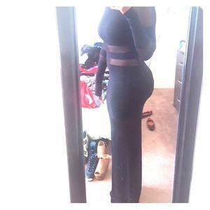 Mesh cut out maxi dress