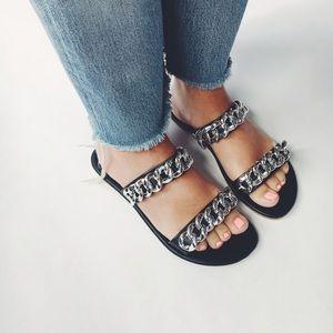 Shoes - 🆕Sofia Black & Silver Chain Link Slides Sandals