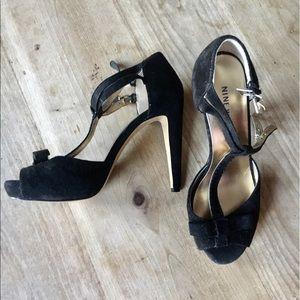 Nine West black suede heels -Size 6