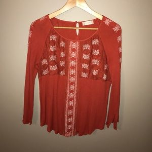 Altar'd State orange embroidered blouse