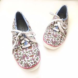 KEDS floral denim chambray detail sneakers size 7