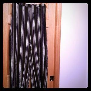 XXL Striped a black & white palazzo/wide leg pants