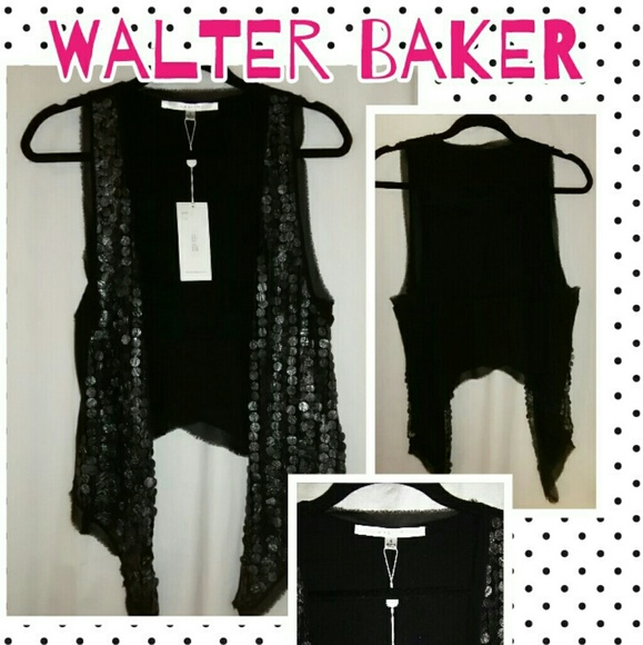Walter Baker Jackets & Coats - NWT Walter Baker Black Matte Sequin Vest