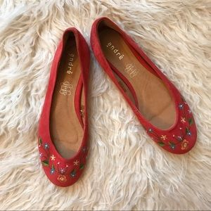 Andre embroidered suede floral flats