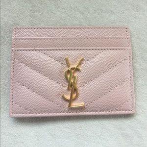 Saint Laurent Card Case in Pale Blush