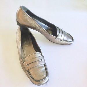 Prada Silver Leather Loafers