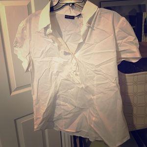 NY&Co White Blouse with Ruffle VNeck XL