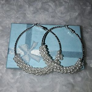 Jewelry - Braided Pearl Beads On Silver Hoops