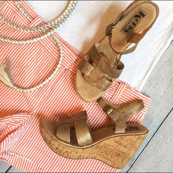 ad97092d50b Kork-Ease Shoes - Korks by Kork-Ease Gold Della Platform Wedges