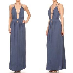 DAISY Open Back Maxi Dress - BLUE