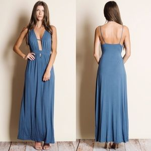 DAISY Open Back Maxi Dress - BLUE