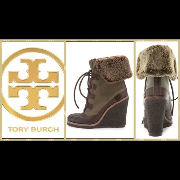 37ab9cc2e7d Tory Burch Fairfax Shearling-Lined Wedge Boot. M 595d93d3291a3500cb15ba6b