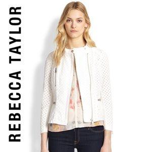 Rebecca Taylor White Eyelet Denim Moto Jacket Sz12