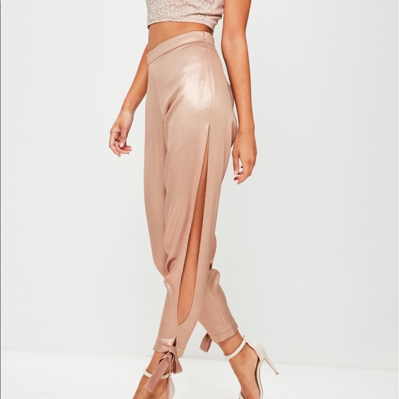 Missguided Pants - High shine split trousers