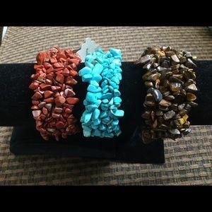 Jewelry - 3 natural stone stretchy bracelets