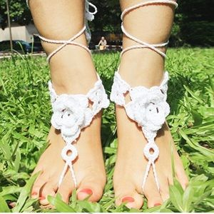 Jewelry - Lace Up Floral Crochet Anklet Barefoot Sandal Pair