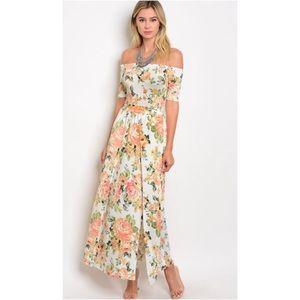 Ivory Peach Off Shoulder Floral Print Maxi Dress