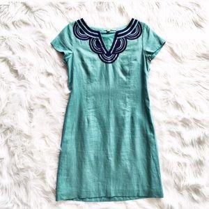 Boden embroidered linen shift dress