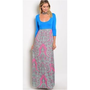 Turquoise Fuchsia & Gray Scoop Neck Maxi Dress