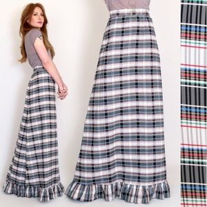 Vintage 70s Plaid High Waisted Maxi Skirt Taffeta