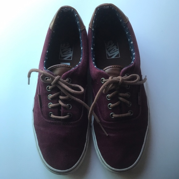🎉 Vans Shoes Burgundy Canvas & Leather Size 10 From