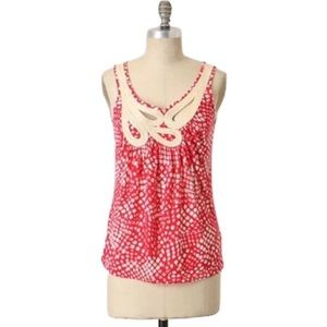 C. Keer S Anthro Red White Rope Tank Top