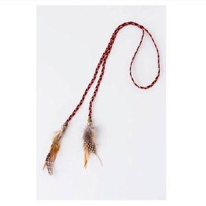 Feathered braid string choker necklace headband