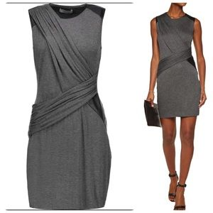 Bailey44 faux leather-trimmed stretch-jersey dress