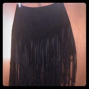 Fun black faux suede fringe skirt