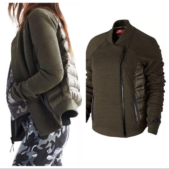 2201a74fd Nike Aeroloft Tech Fleece Moto Jacket Cargo Khaki NWT