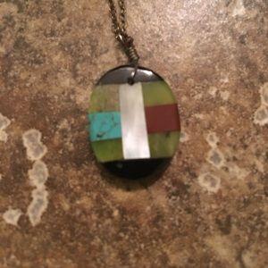 Handmade turquoise and stone pendant