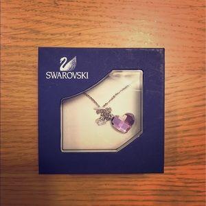 Swarovski pink hearts & butterfly crystal pendant