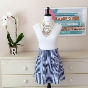 ❤️ Blue Stripes Skater Skirt