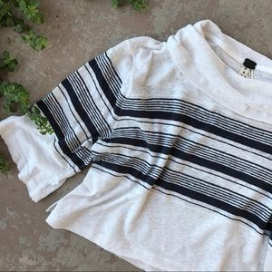 Free People Linen Cotton Stripe Boho Crop Top