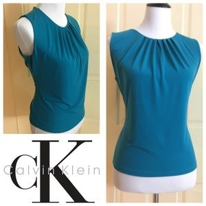 Calvin Klein Pleat Neck Sleeveless Top (petite L)