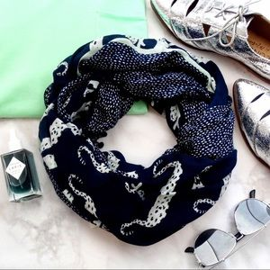 Navy Jungle Cat and Dot Print Infinity Scarf