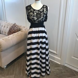 Black Lace Bodice Back and White Maxi Dress