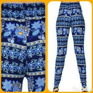 MOVING SALE! Brilliant Blue Floral Leggings