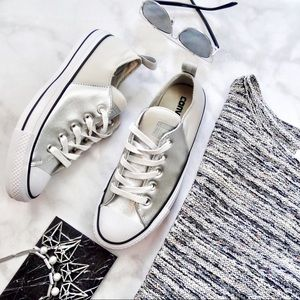 Converse Silver Colorblock Leather Sneakers