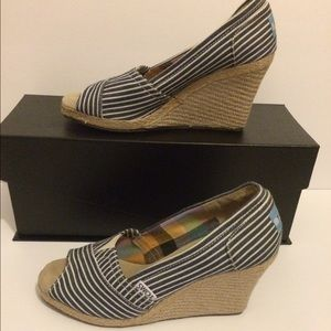 TOMS Striped Canvas Open Toe Wedge Espadrilles