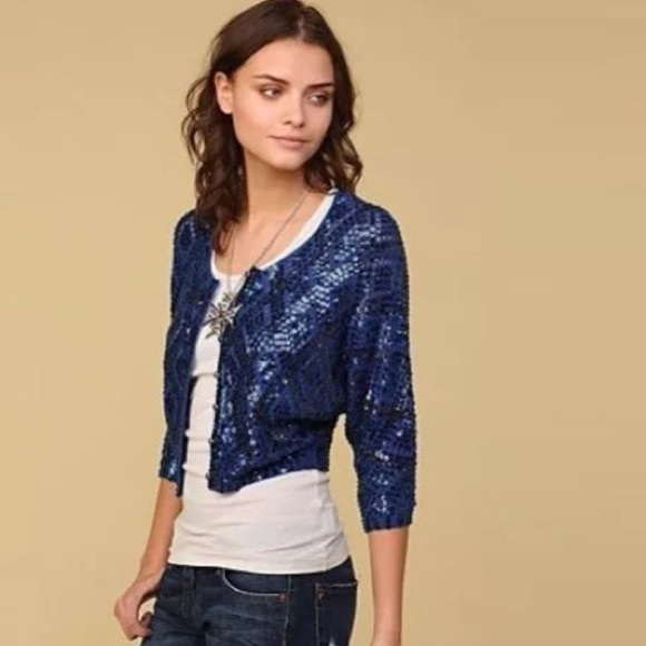 78% off Free People Sweaters - Free People Blue Sequin Cardigan ...