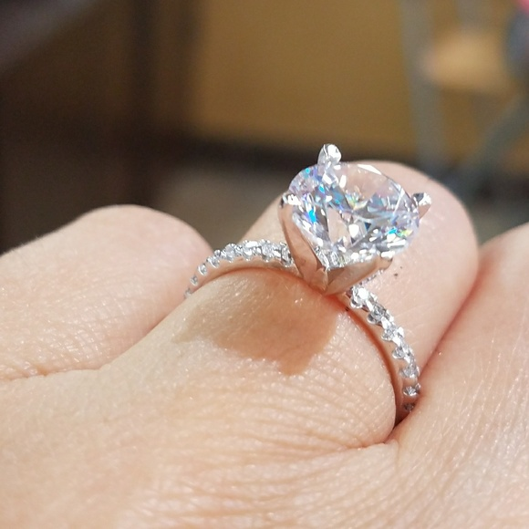 solid 14k real white gold 3ct round diamond engagement solitaire ring prongs set