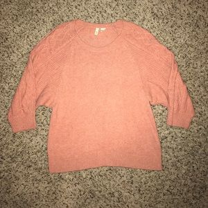 Anthropologie MOTH light coral ball sweater.
