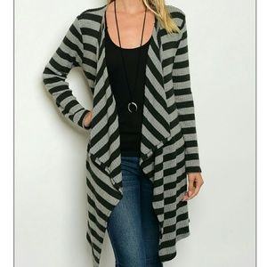 Sweaters - Long Open Cardigan Sweater Black Gray Small Large