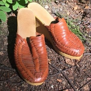 Shoes - Vintage Woven Leather 1970s 70s Boho Hippie Wedges