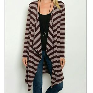 Sweaters - Long Open Cardigan Striped Tan Small Medium Large