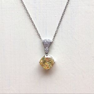 Jewelry - SS CZ Gemstone Encrusted Bling Adjustable Necklace