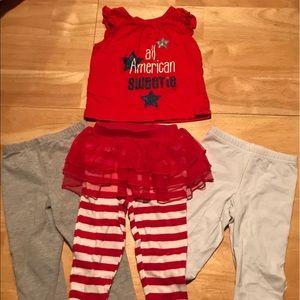 Other - Tank top w gry leggings, whi capri, striped tutu