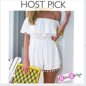Dresses & Skirts - 5⭐️RATED✨HP✨ Off Shoulder Ruffle Romper W/ Pom Pom